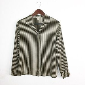 Black & Tan Stripe Easy Care Button Down Blouse